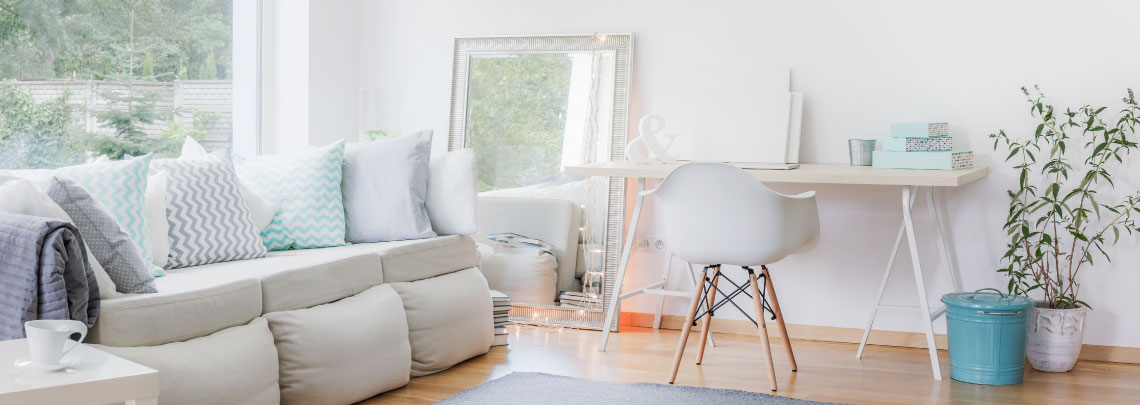Modern interior with pastel furnishings